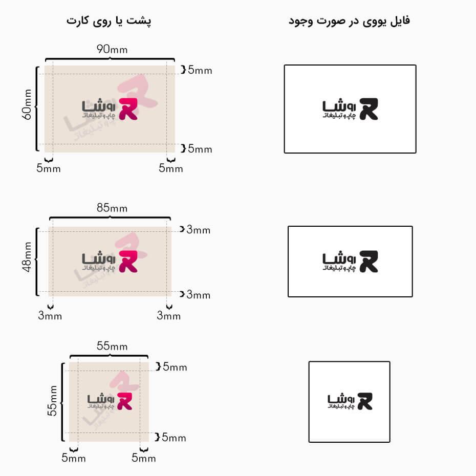 راهنمای انتخاب سایت کارت ویزیت | خدمات چاپ روشا | راهنمای اندازه کارت ویزیت